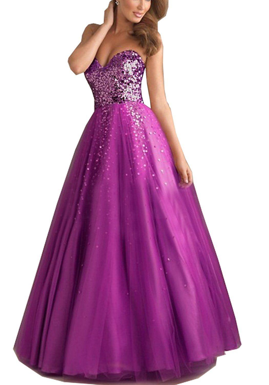 Onlinedress womenus sequin sweetheart tulle ball gown floor length