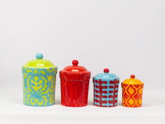 Ceramic Canisters Kitchen Canister Set Pottery Canisters