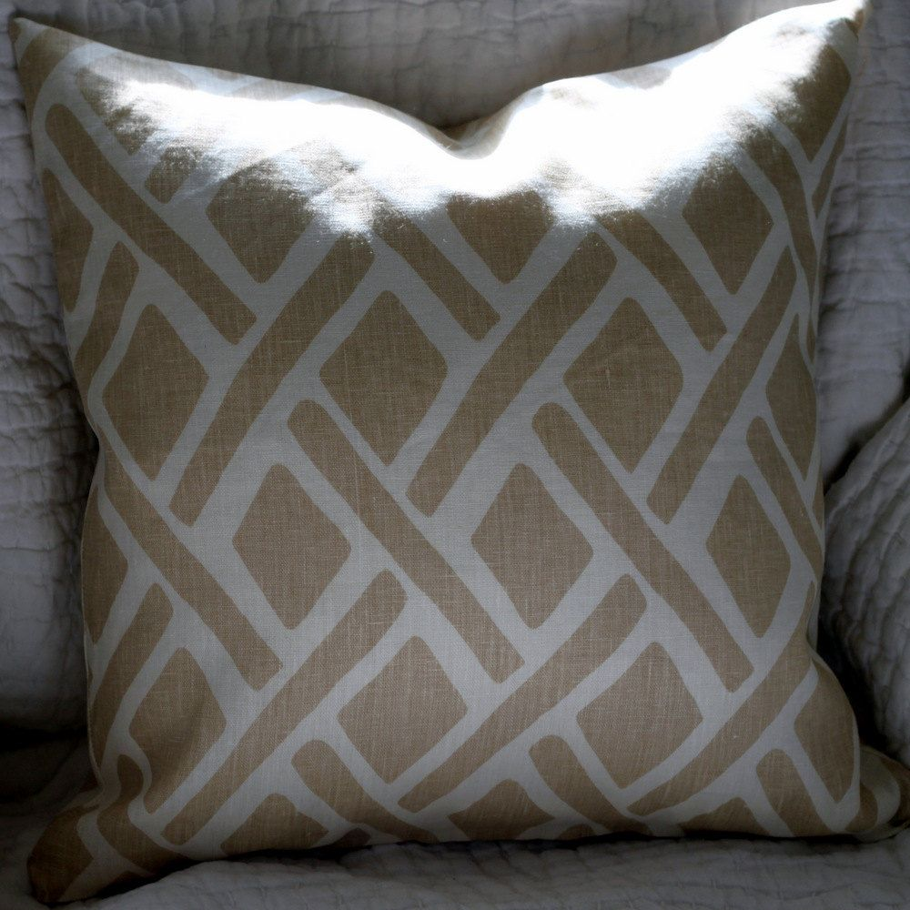 "Treads 18"" Linen Pillow Cover Portfolio Fabric Cream White Abstract. $44.00, via Etsy."
