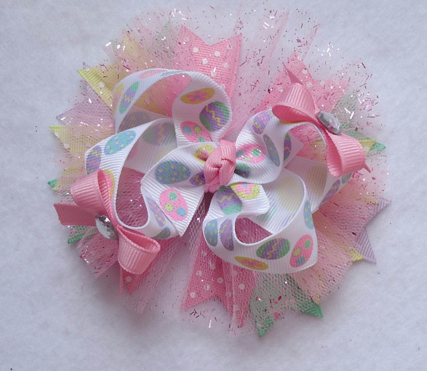 """Light Pink Feather Hair Bow 5/"""""""