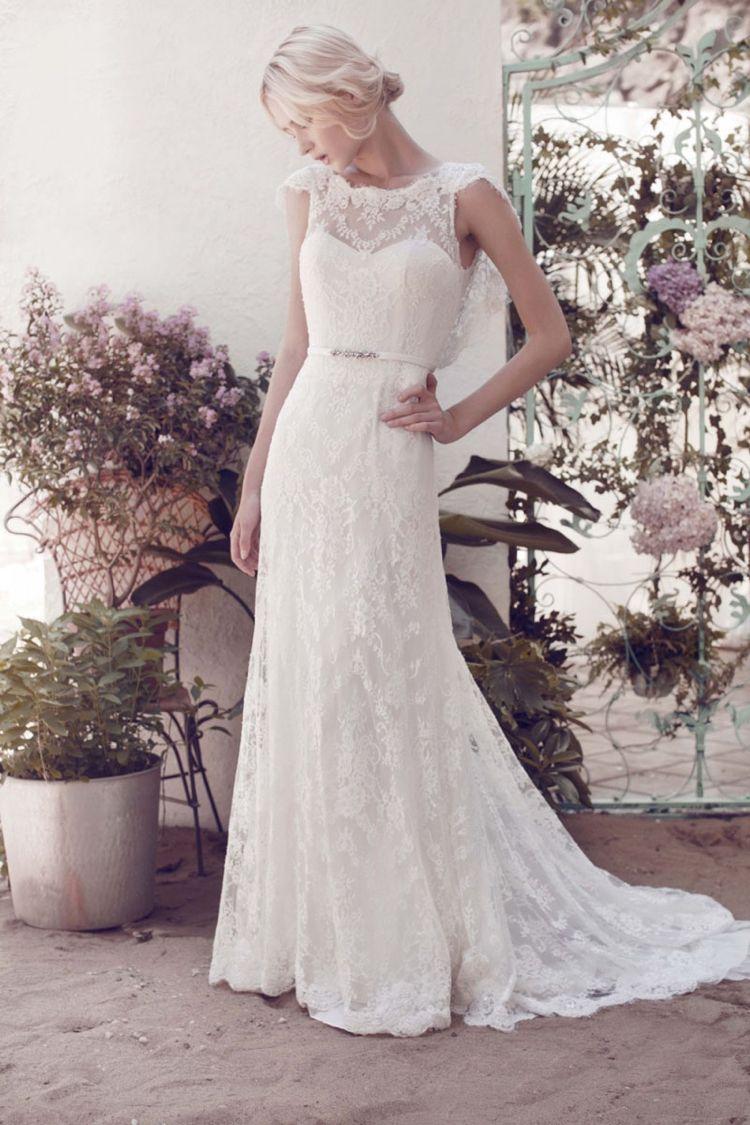 klassische Brautkleider -elegant-spitze-vintage-20er-guertel ...