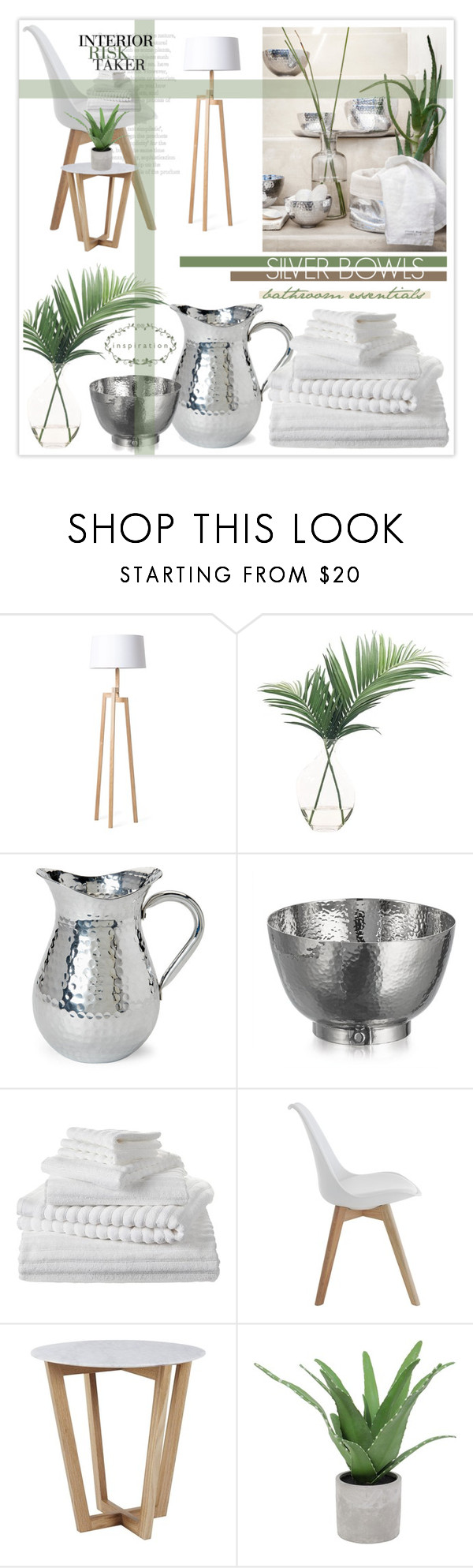"""Slate & Silver - Bathroom"" by nonniekiss ❤ liked on Polyvore featuring interior, interiors, interior design, home, home decor, interior decorating, H&M, Rove Concepts, NDI and Michael Aram"