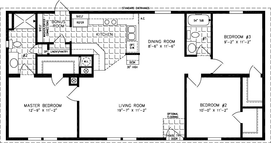 Floorplans for Manufactured Homes 1000 to 1199 Square Feet