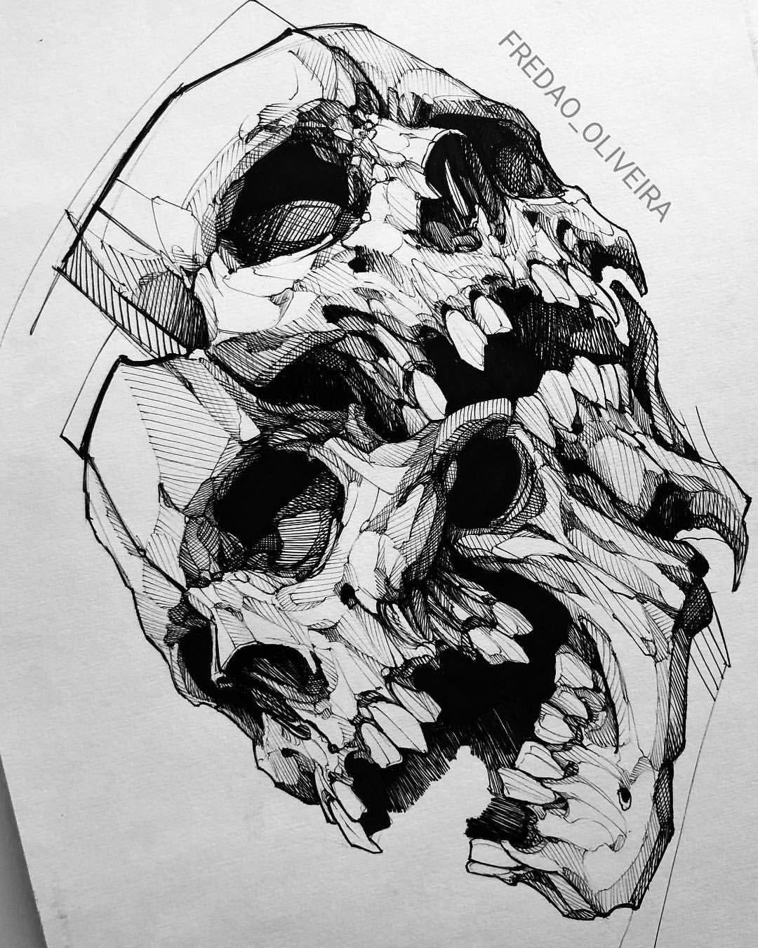 Skull Sketch . . . . caveira fredaooliveira skull