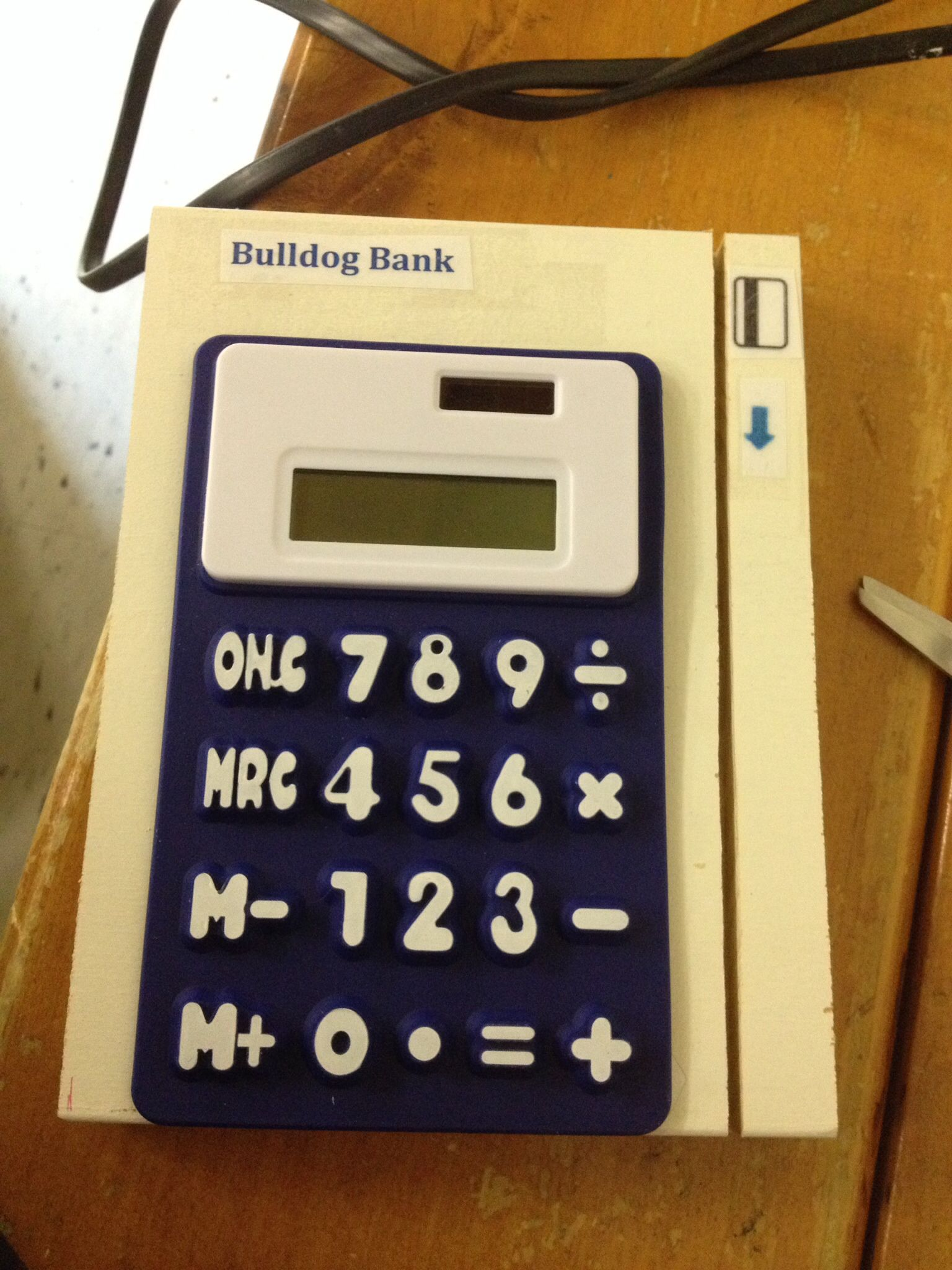 Pretend credit card machine for kids  Block of wood