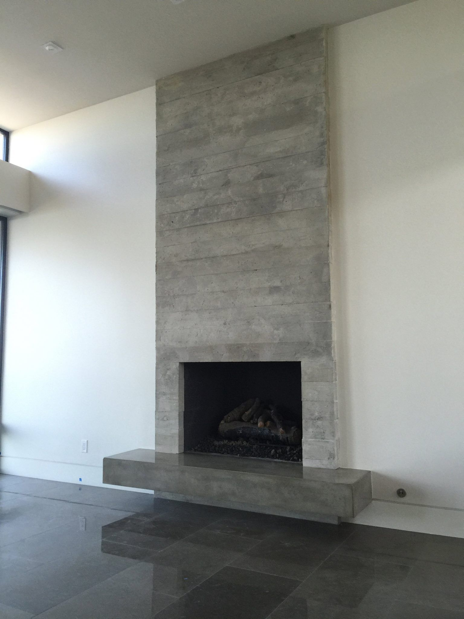 Pin On Concrete Board Formed Veener Tiles Fireplace