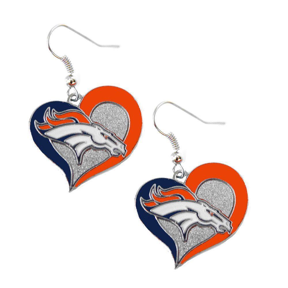 Denver Broncos Swirl Heart Dangle Earrings