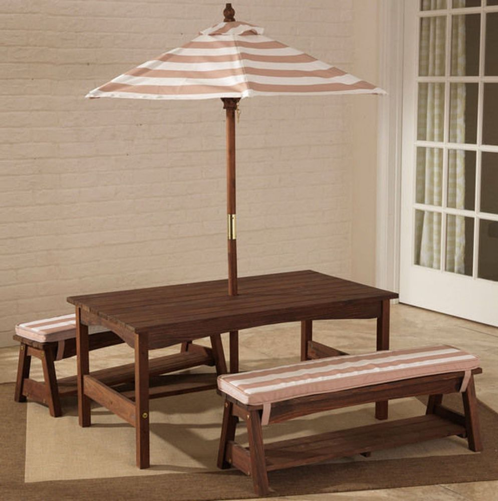 Kids #Picnic #Table Small Childrens #Outdoor Patio Furniture Umbrella Bench  Seat