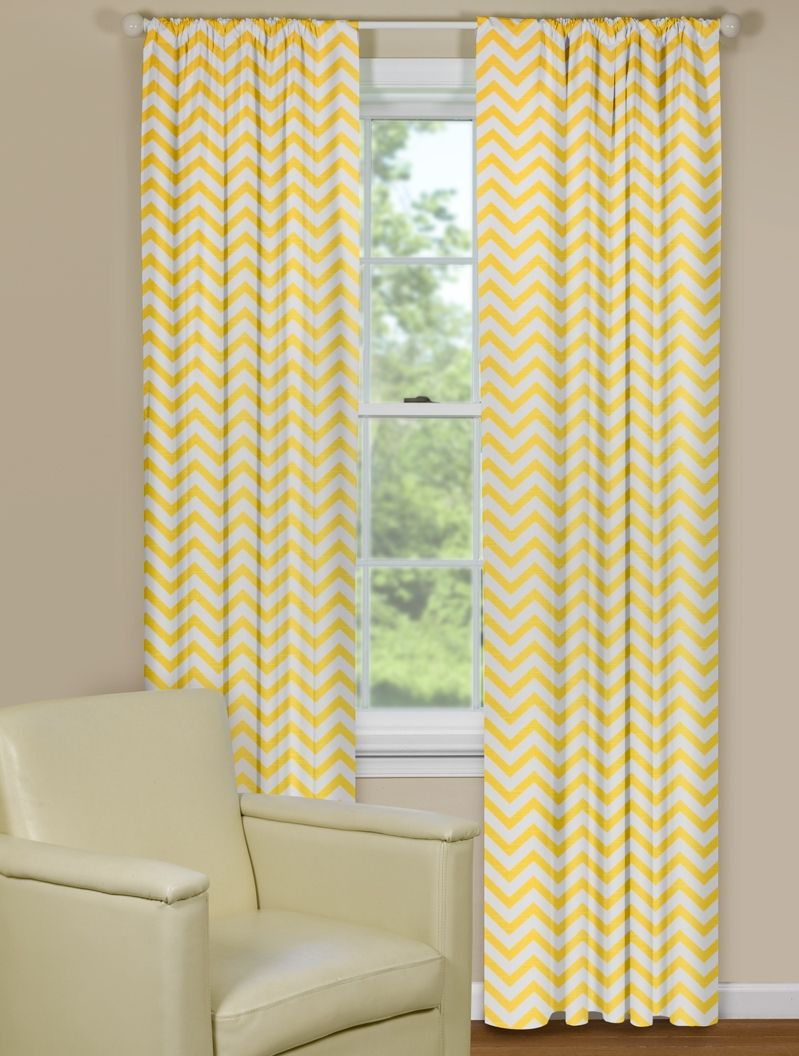 Yellow Window Curtains Chevron Style Contemporary Curtains