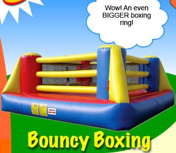Awesomebounce Com Check Out This 19 X19 Oversized Boxing Ring Includes 2 Pairs Of Gloves 4 Gloves And Up To 8 Hours Of Bashin Bounce House Rentals Kids Water Slide Bouncy Castle For Sale