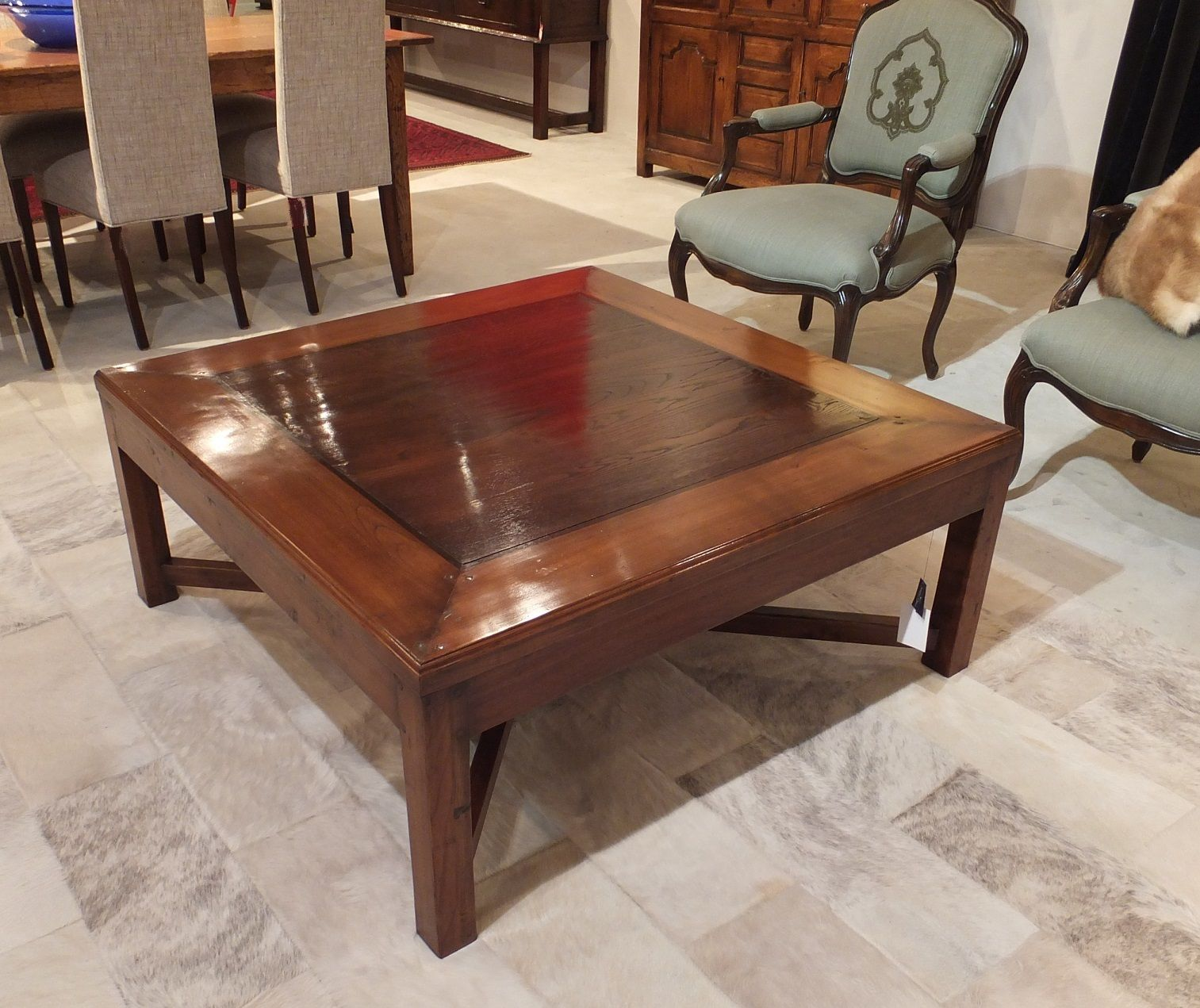 Beaumont Coffee Table Cherry Wood Frame French Oak Centre