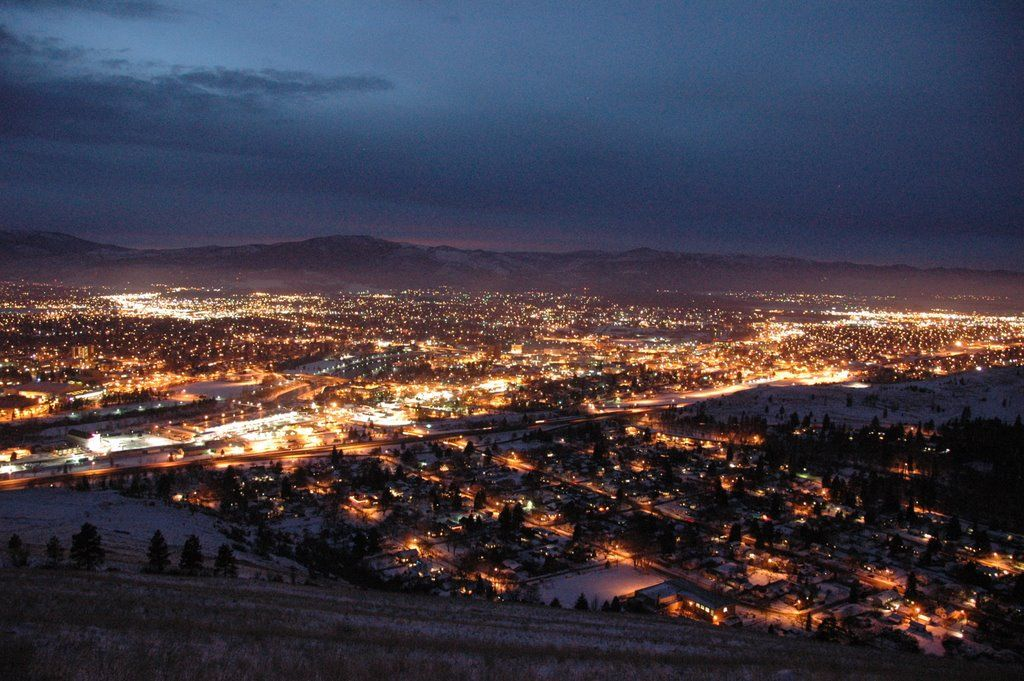 Night View Of Downtown Missoula Montana Pinned By Http