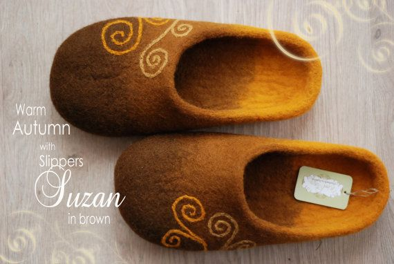 Photo of Felted woolen brown slippers, cozy gift in autumn colors with spiral symbols , MADE TO ORDER, any color and size