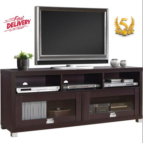 New Tv Cabinet Up To 65 Espresso 3 Shelves Glass Doors Stylish By