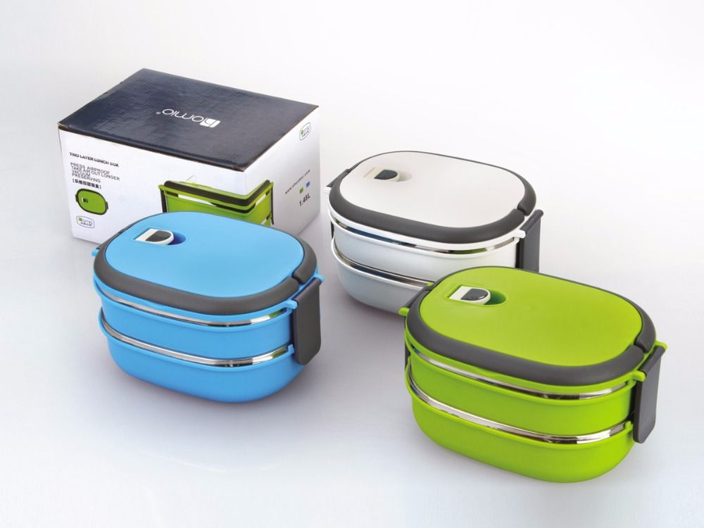 2c9be704d0 2 Layer Stainless Steel Thermos Bento Lunch Box Japanese Food Box Insulated Lunchbox  Thermal Food Container w/ Handle Blue Green