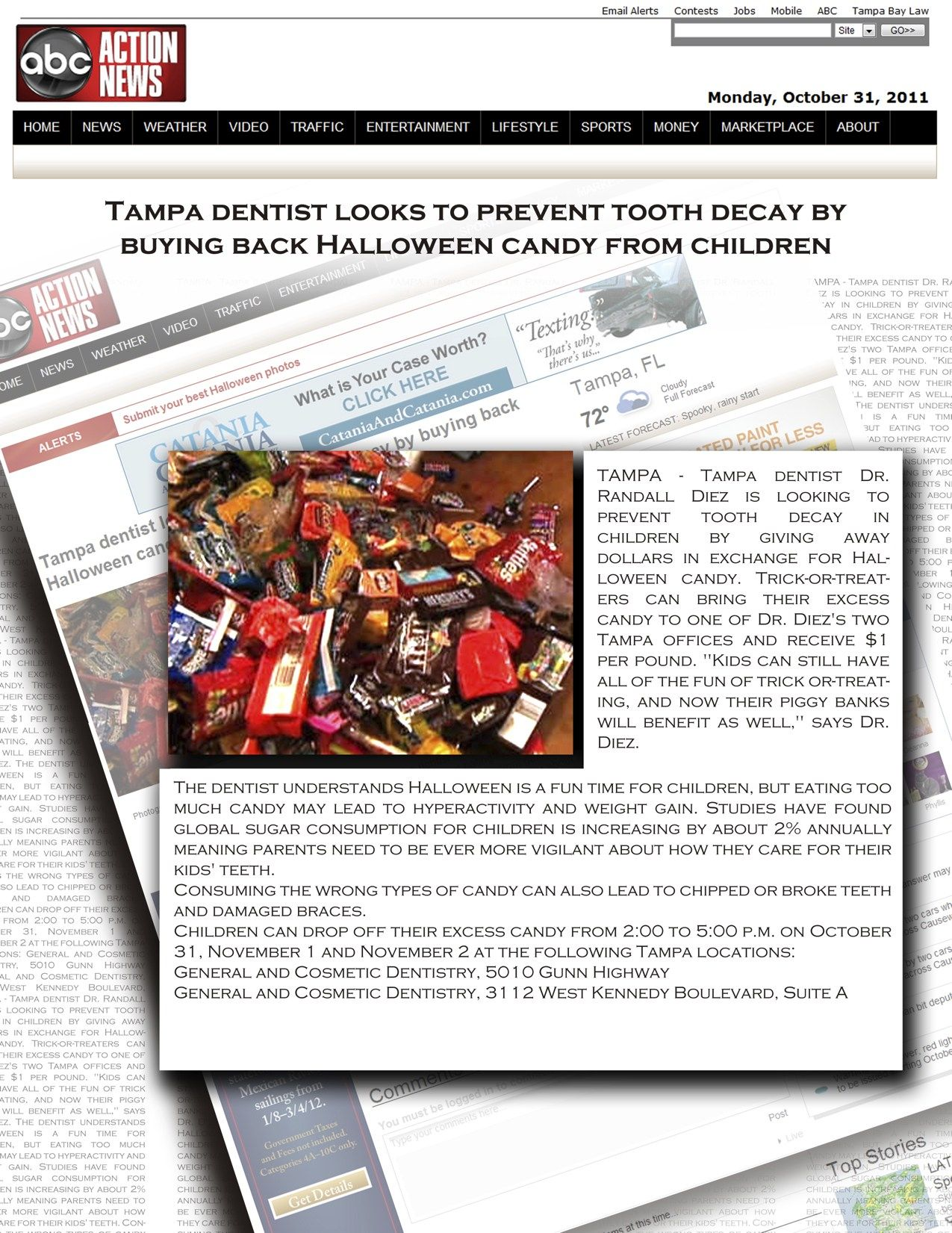 Tampa fl dentist randall a diez sponsors halloween candy