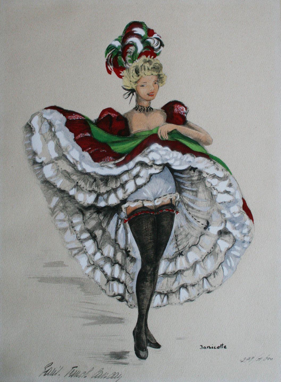 Vintage Artist Janicotte Can Can Dancer Artist Vintage