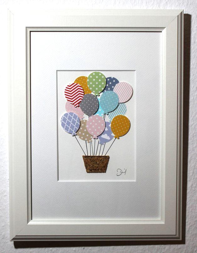 Kinderzimmer Bild Heißluftballon mit vielen unterschiedlichen ...