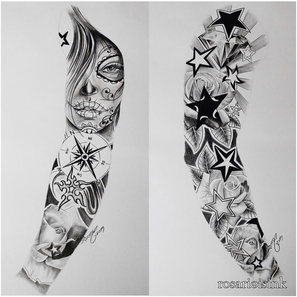 Full arm sleeve pinteres for Drawing tattoos on paper