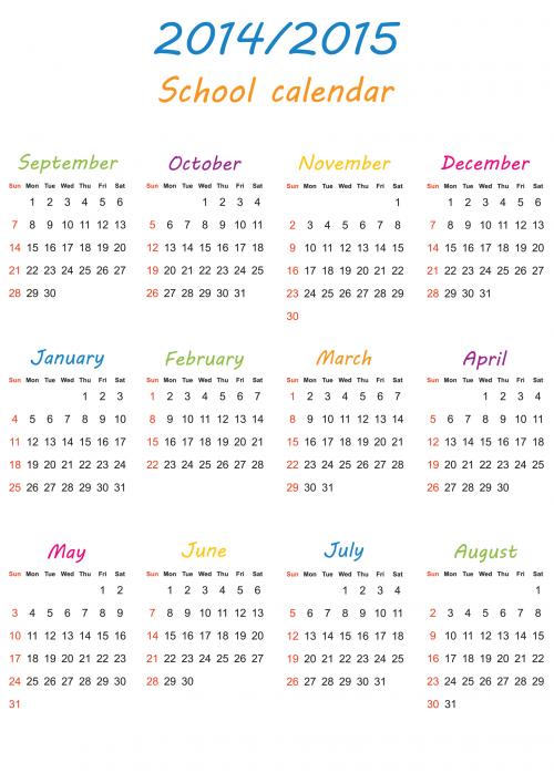 2014 2015 Printable School Calendar School Pinterest School