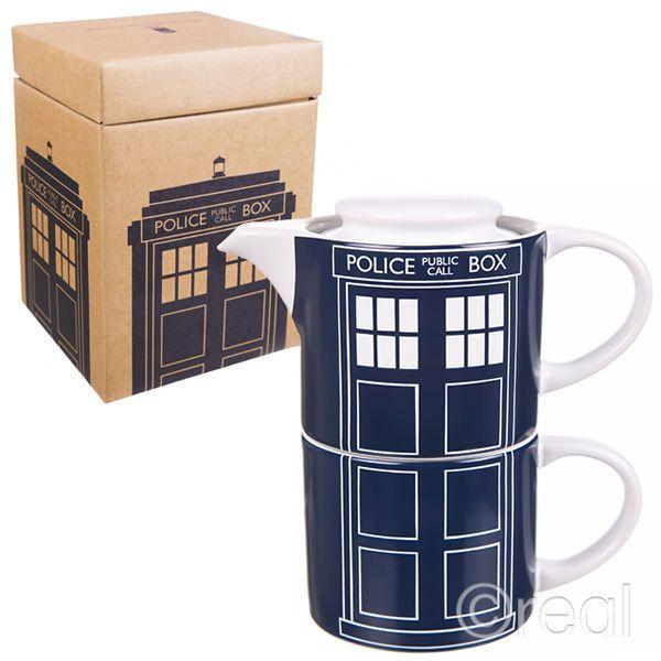 New Doctor Who TARDIS Panel Tea-For-One Teapot & Mug Set Retro BBC Official