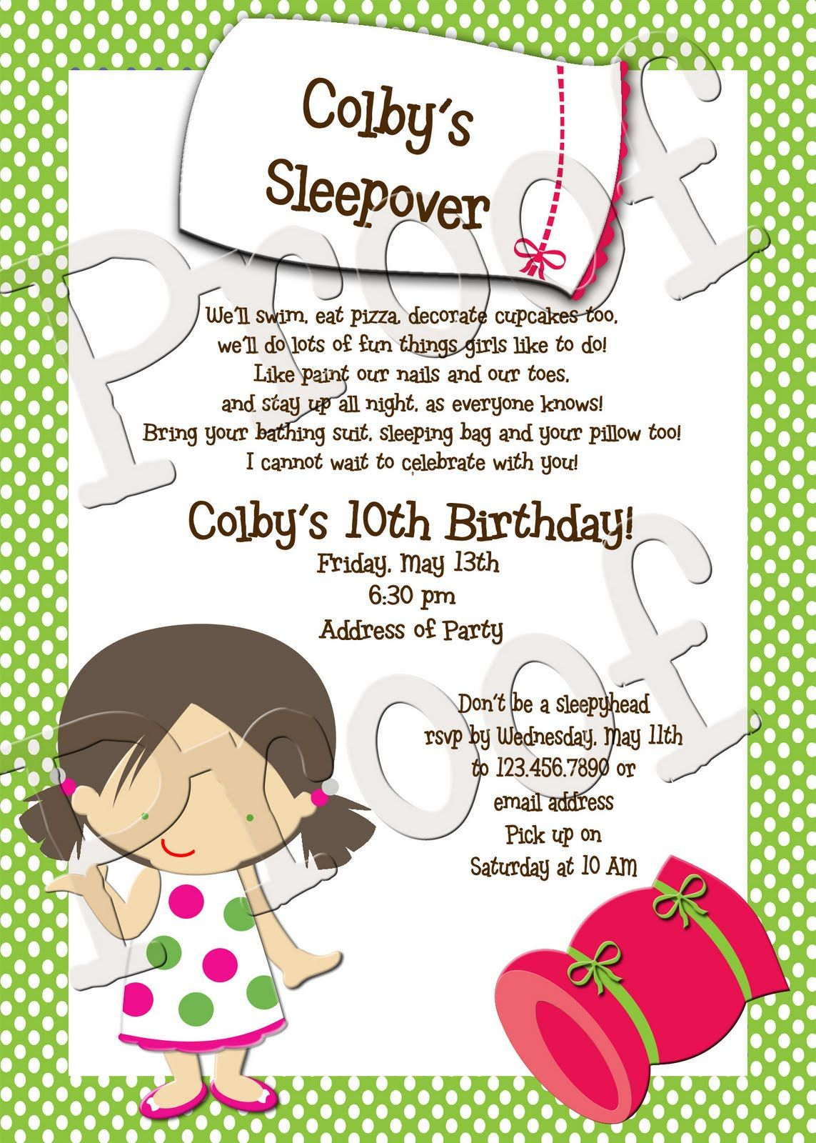 Cute Sleepover Poem Invitations Kids Birthday Party Bridal Shower Christmas