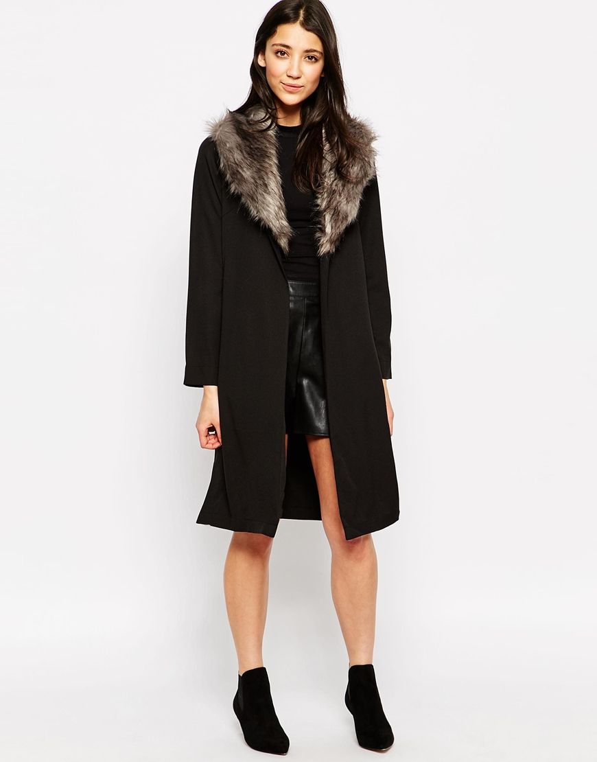 Influence Duster Jacket With Faux Fur Collar | Outfits I like ...