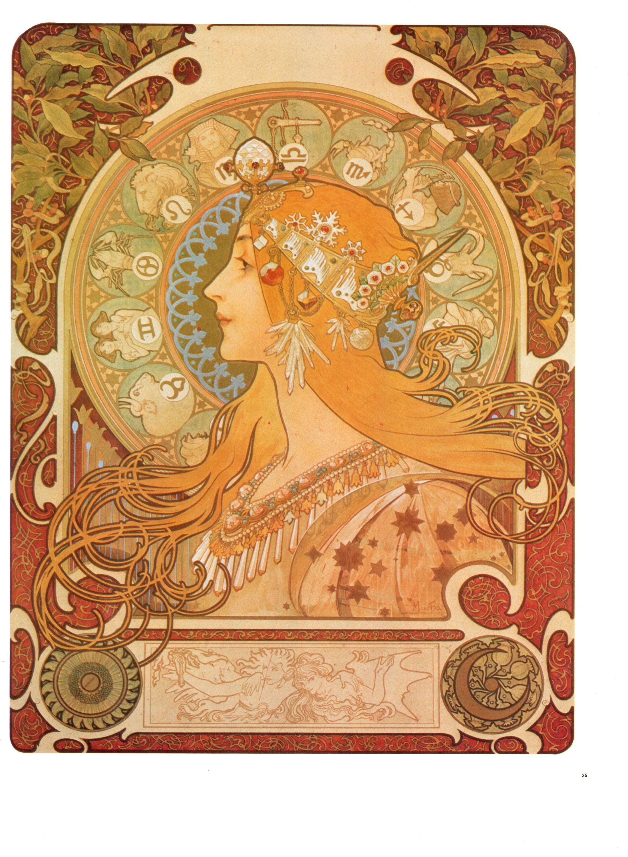 Art Nouveau Print By Alphonse Mucha Page Is Approx The Full Etsy In 2020 Mucha Art Art Illustration Art