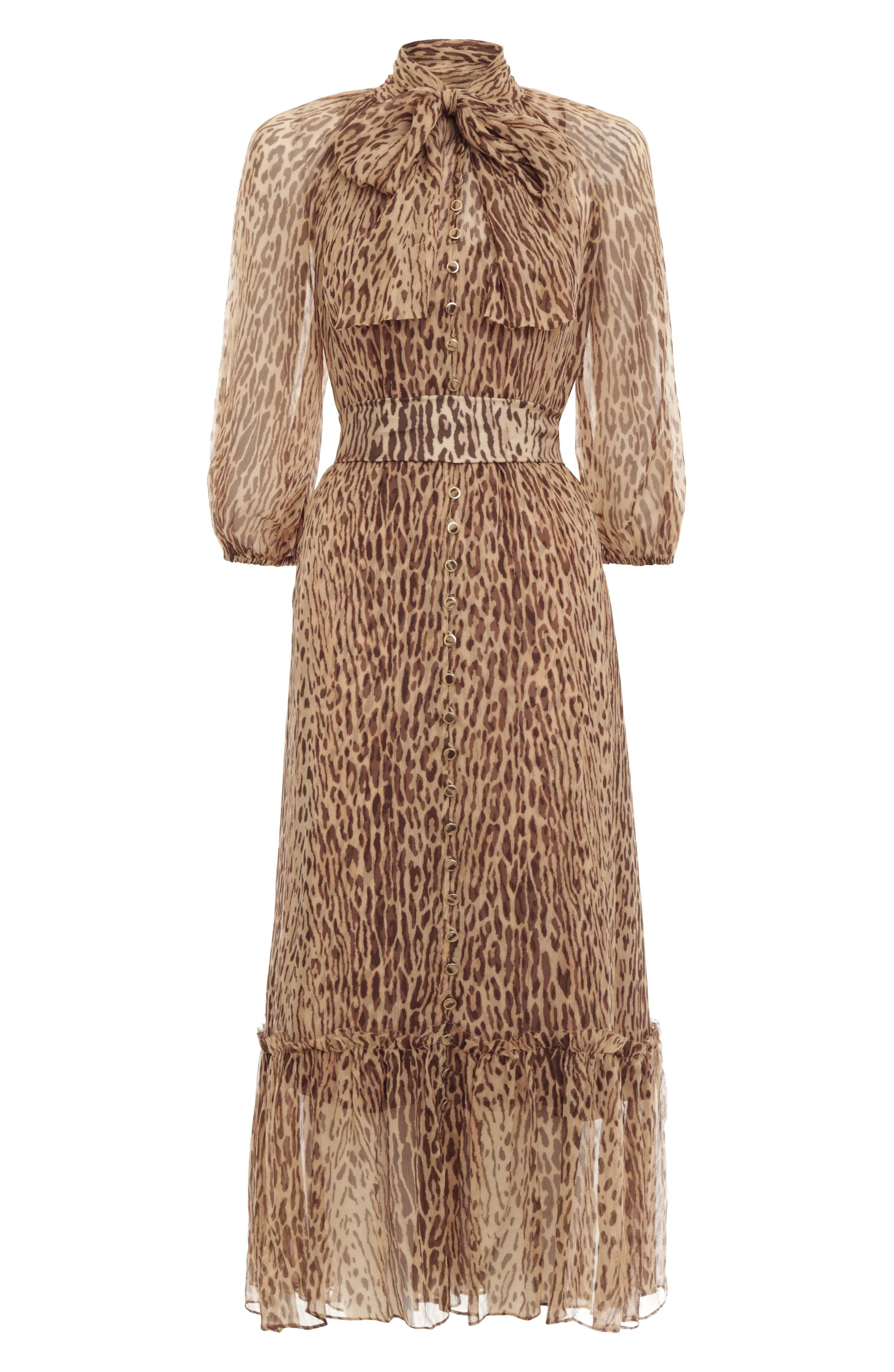 2019 Womens Designer Inspired Luxury Leopard Pattern Pleated Maxi Dress Gown