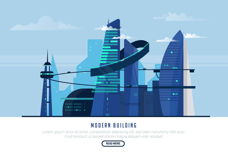 Modern Vector Landscape Building By Aqr Studio On Creativemarket