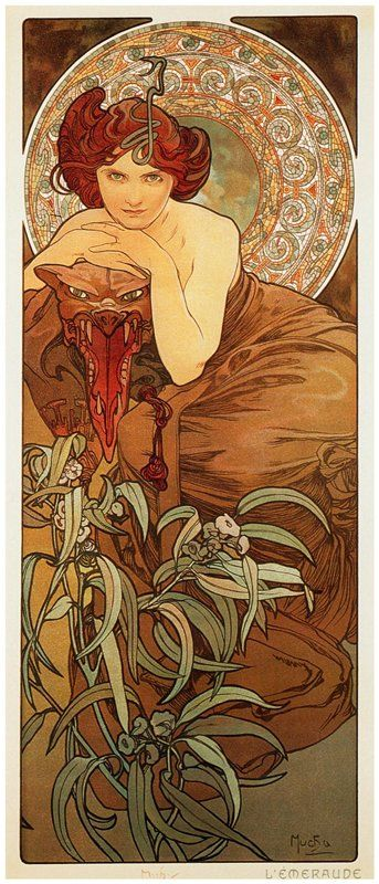 Emerald, Precious Stones series, Alphonse Mucha