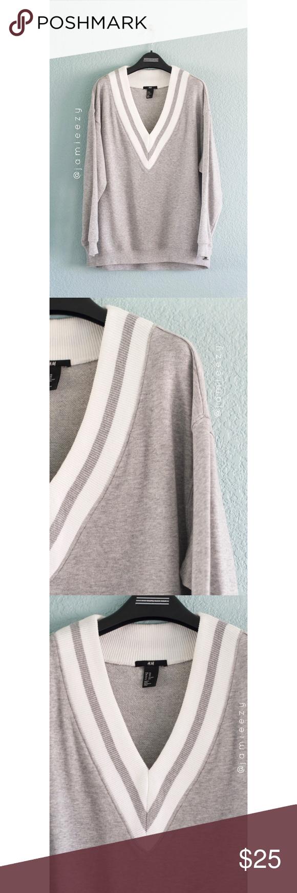 H M Varsity V Neck Dressy Casual Sweatshirt Dressy Casual Casual Sweatshirt Dressy [ 1740 x 580 Pixel ]