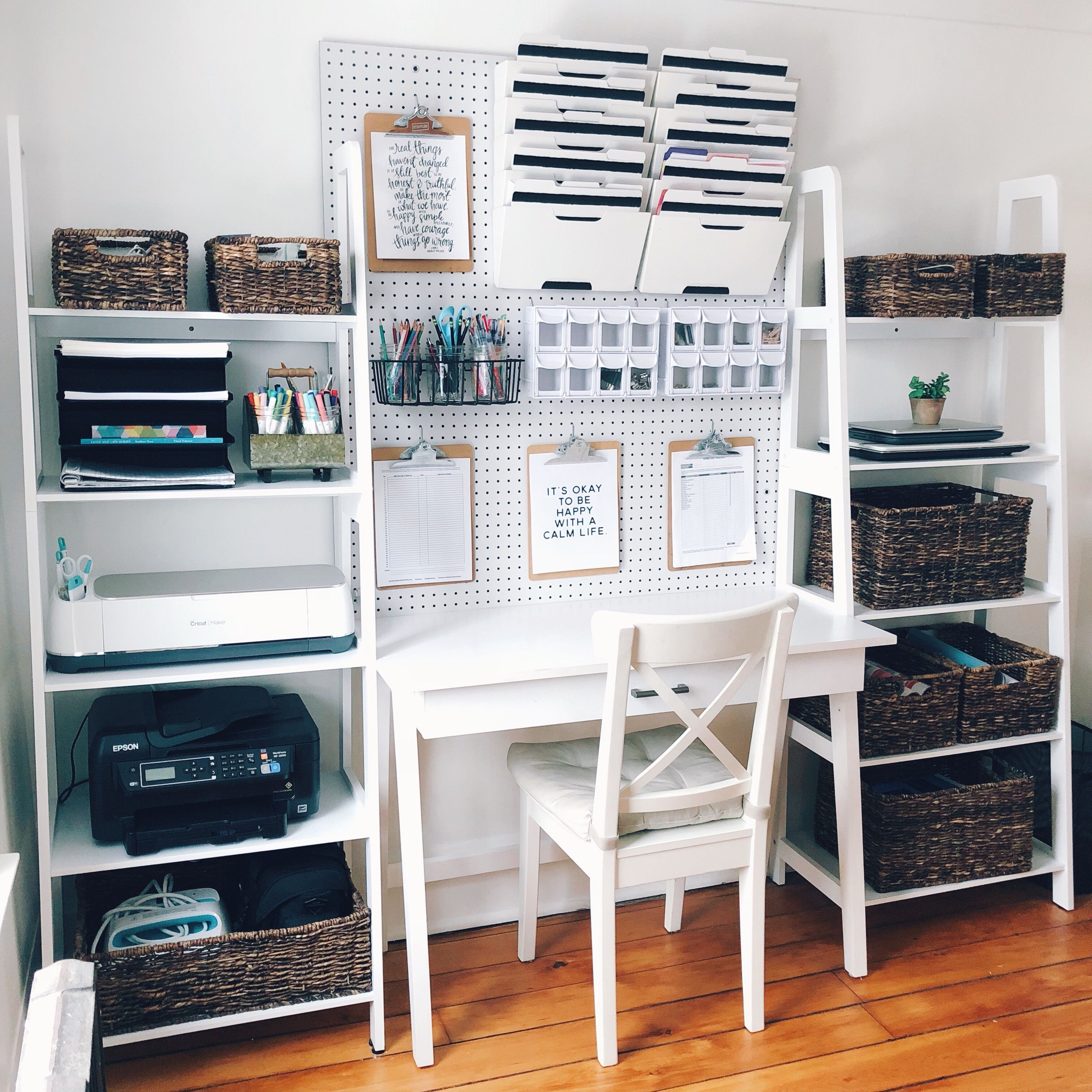 Simple Home Office Organization - white house black shutters | Condo ...