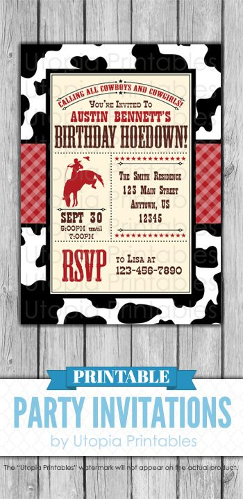 birthday hoedown invitation cowboy theme party rustic rodeo country