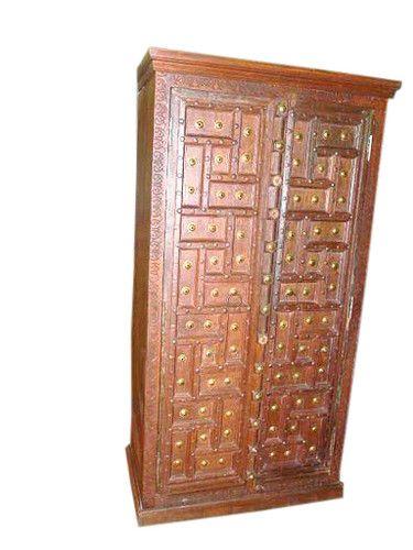 Old Door Cabinet Antique Geometric Design Teak Armoire India Furniture  77x38   EBay