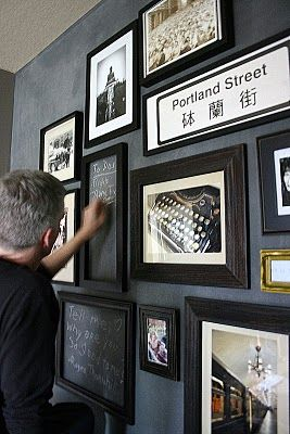 { love the idea of including chalkboards within a cluster of frames }