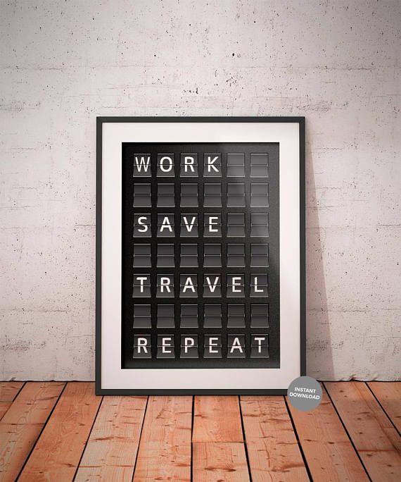 Work Save Travel Repeat Printable Airport Departure Board