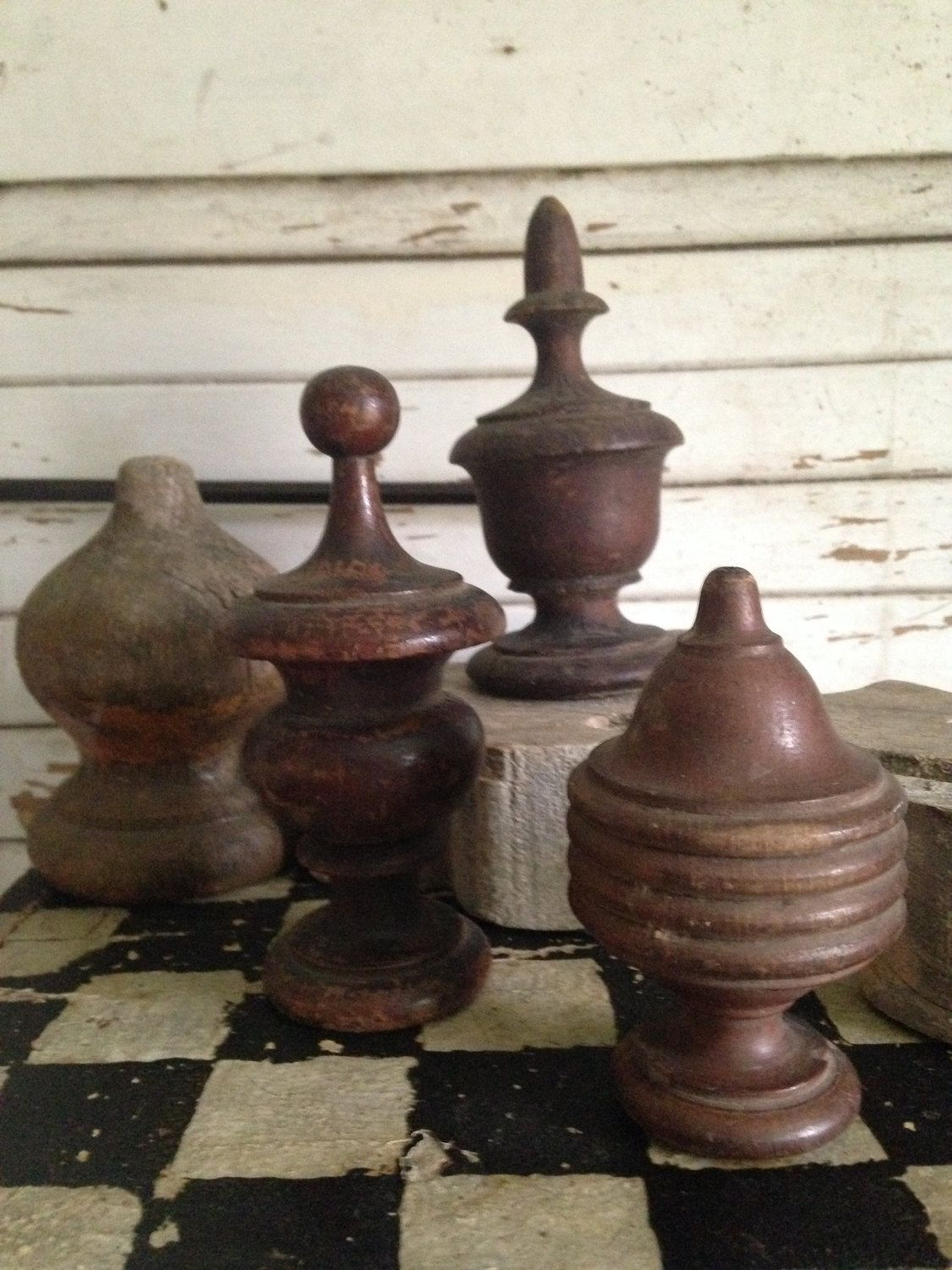 Antique Wood Finial Collectionnewel Post Finialsfinial Post Cap
