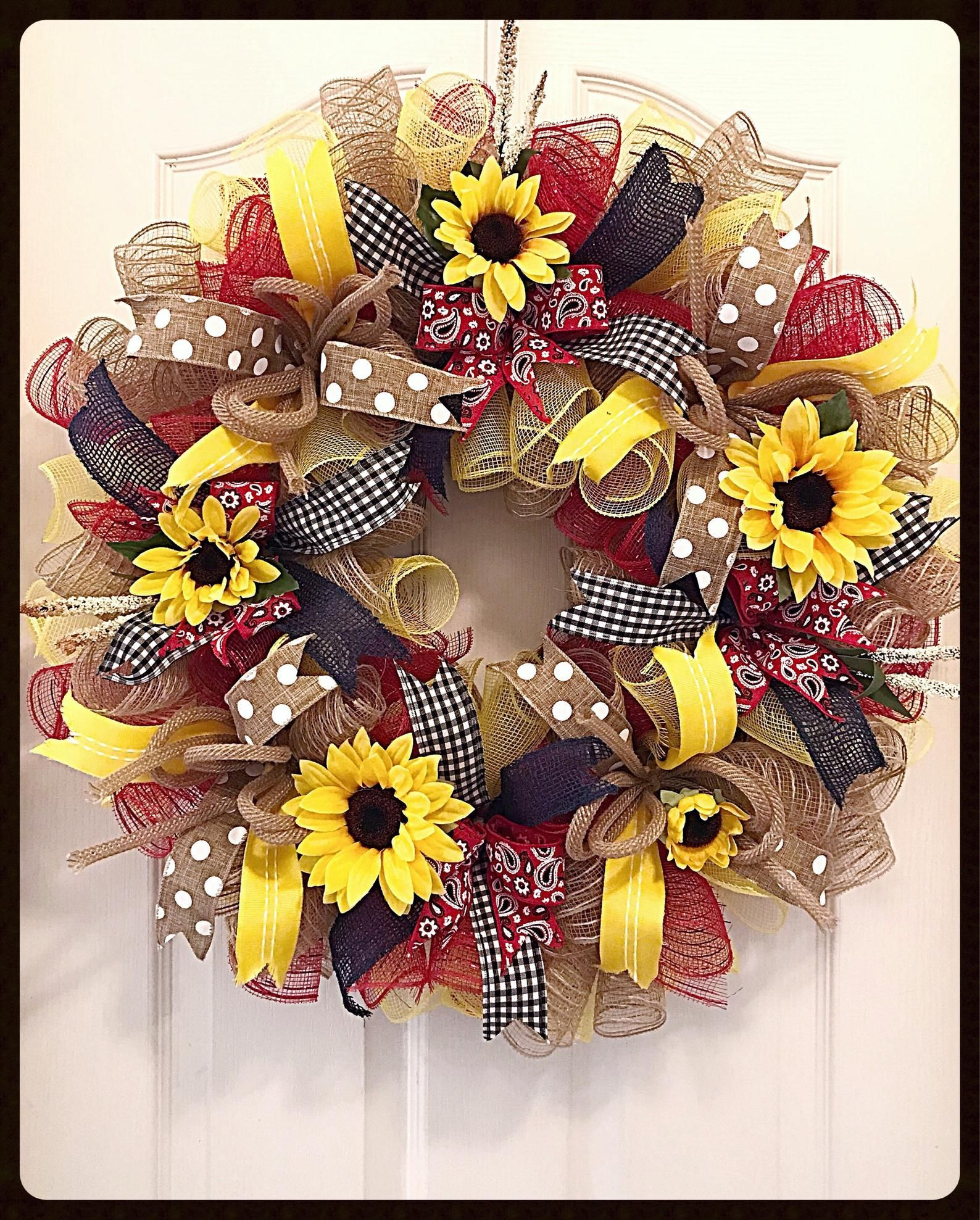 Burlap sunflower Deco Mesh Wreath/Sunflower Wreath