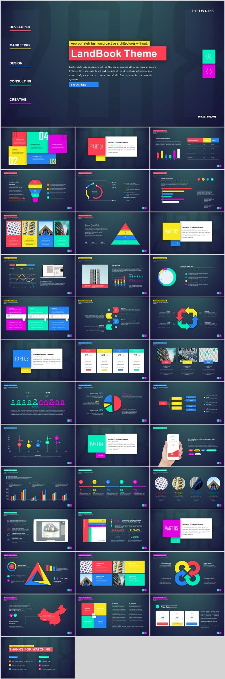 Colorful magazine style design PowerPoint template