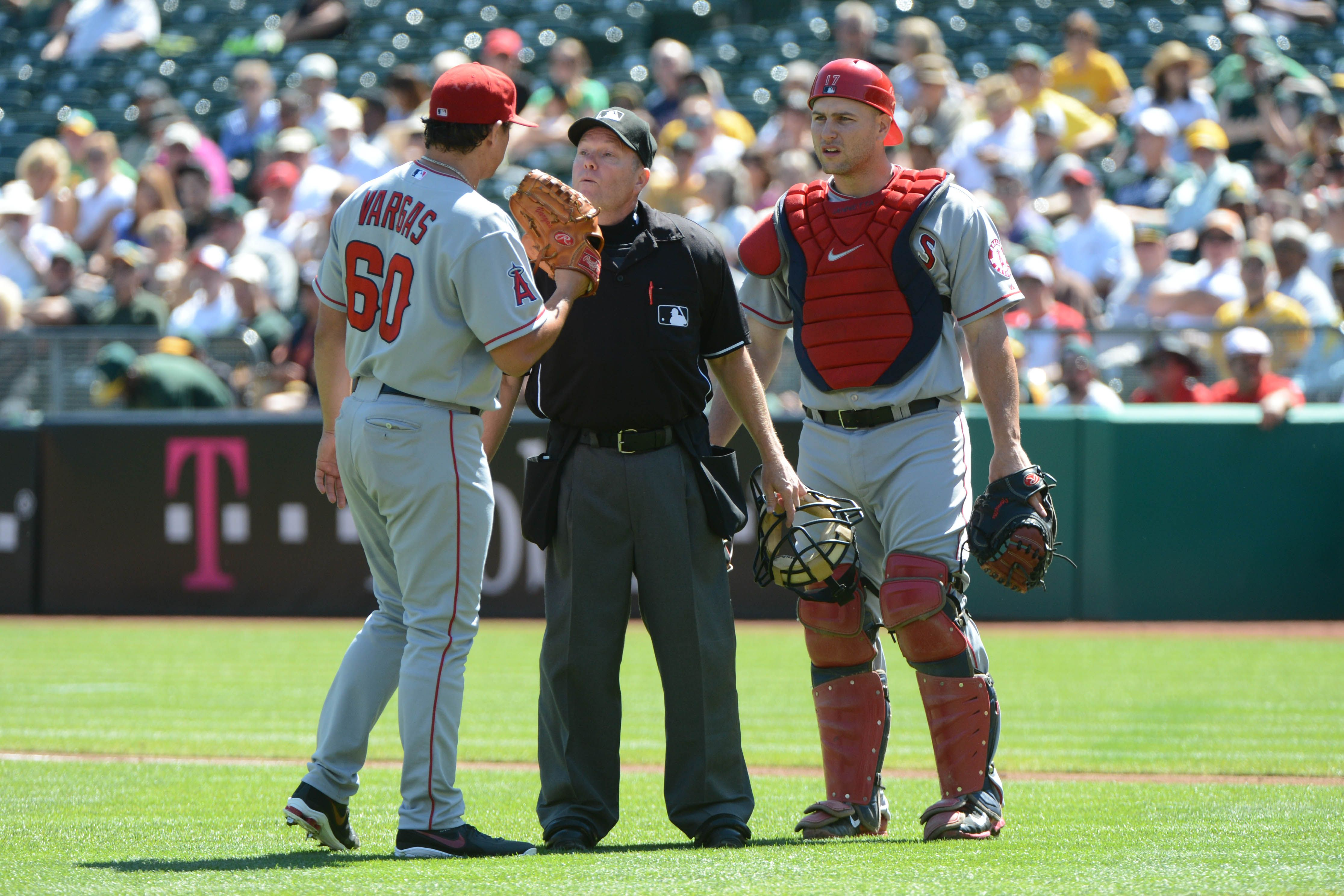 Crowdcam Hot Shot Mlb Umpire Jerry Meals Warns Los Angeles Angels Starting Pitcher Jason Vargas After A Hit By Pi Oakland Athletics Los Angeles Angels Athlete