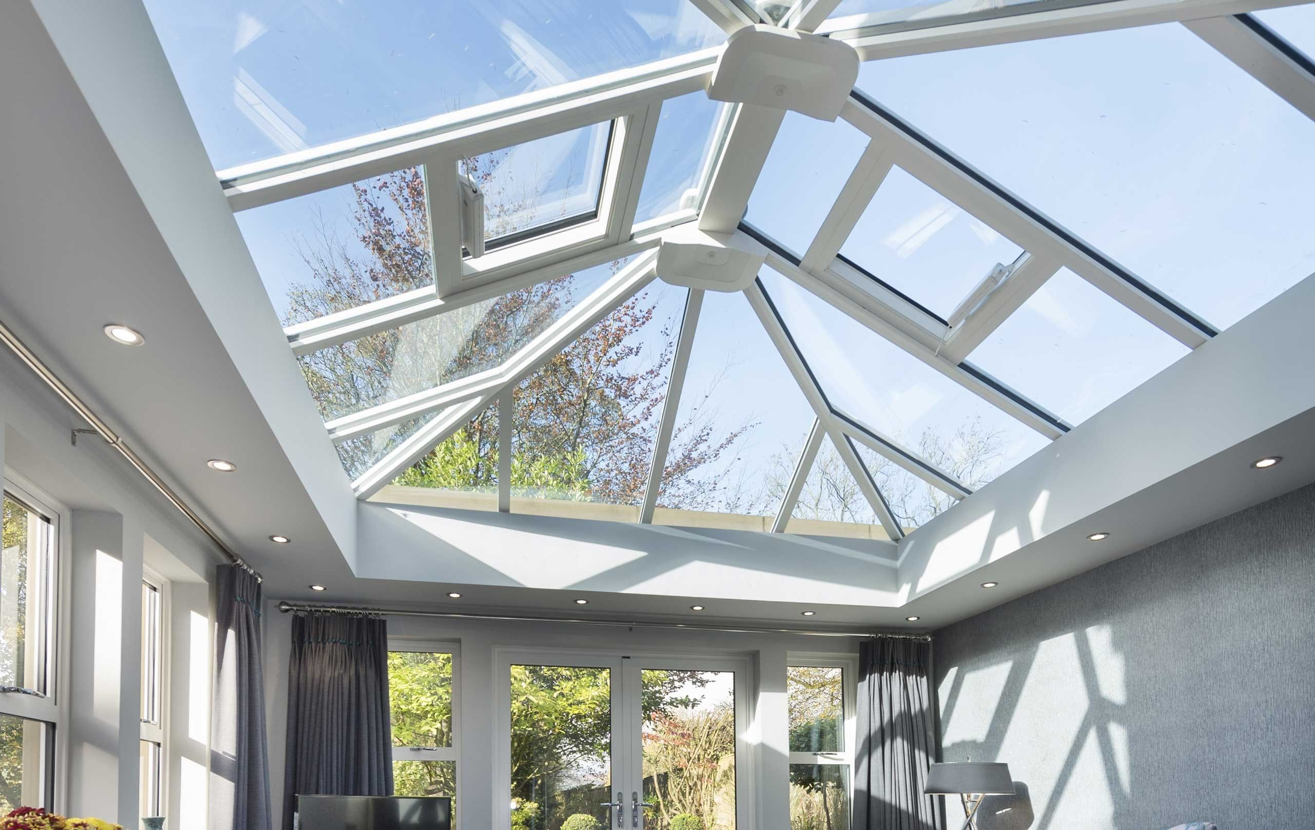 An Ultraframe Glass Conservatory Roof In 2020 Shed Roof Design Roof Design Glass Conservatory Roof