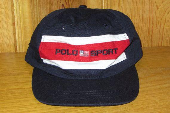 POLO SPORT Ralph Lauren USA Flag Hat Navy Blue Vintage 90s Stadium ... 5009b6ee10c