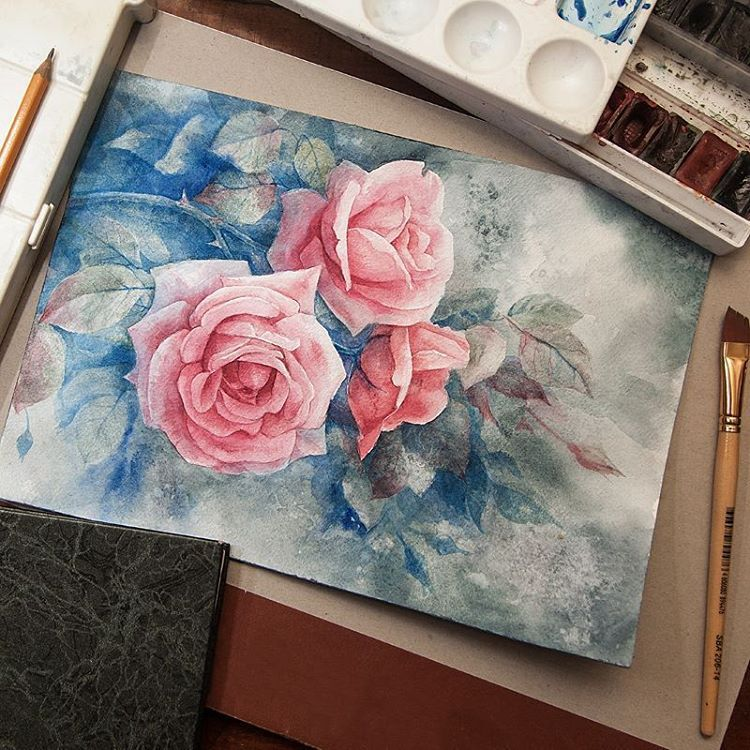 Roses for Mom on the day an angel  #rose #drawing #picture #watercolor…