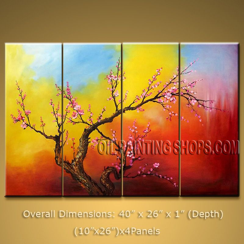 Tetraptych Contemporary Wall Art Floral Plum Blossom On Canvas ...