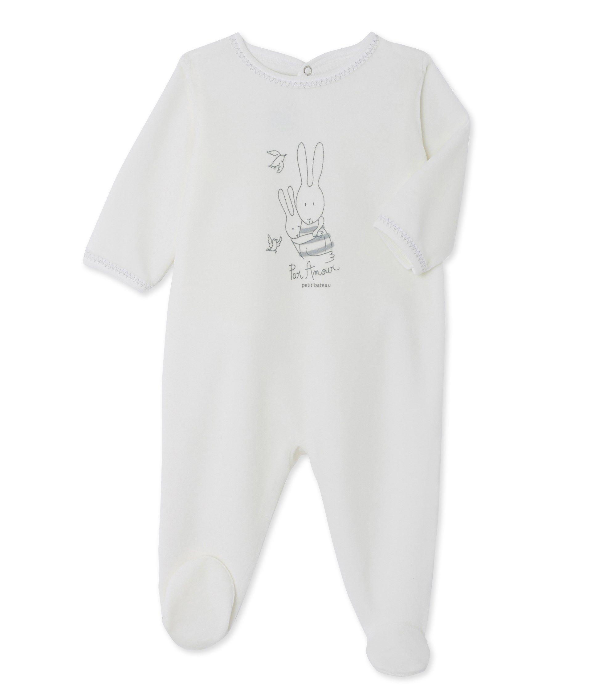 9ac1046617b92 Dors bien bébé mixte en velours sérigraphié bleu Fraicheur - Petit Bateau