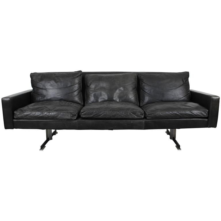 Mid Century Modern Black Leather Sofa With Chrome Legs From A