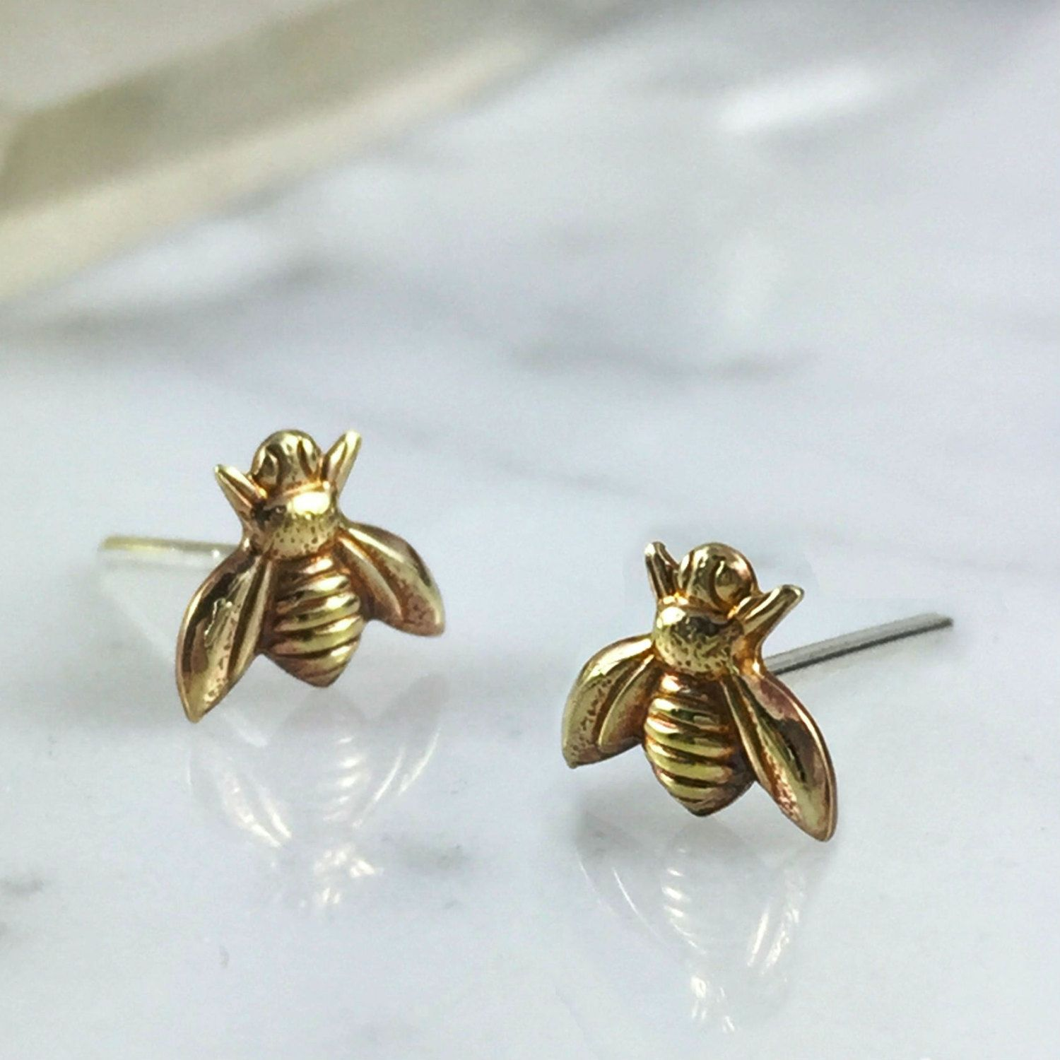 Bee Earrings, Copper Bee Earrings, Brass Bee Earrings, Bee Studs, Stud  Earrings