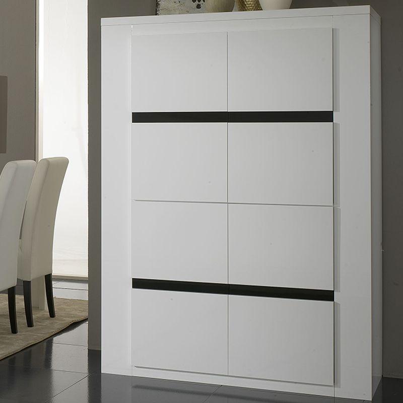 Buffet haut blanc et noir laqué design MAEVA | Buffet haut moderne ...
