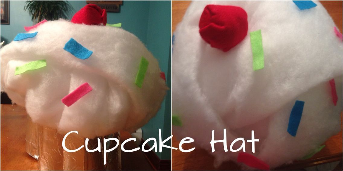 Crazy Hat Day Idea (Use a hat as the base, then use tinfoil over poster board for the bottom to cover up the hat, felt for the sprinkles and cherry, and pillow filler for frosting) #crazyhatdayideas Crazy Hat Day Idea (Use a hat as the base, then use tinfoil over poster board for the bottom to cover up the hat, felt for the sprinkles and cherry, and pillow filler for frosting) #crazyhatdayideas Crazy Hat Day Idea (Use a hat as the base, then use tinfoil over poster board for the bottom to cover #crazyhatdayideas